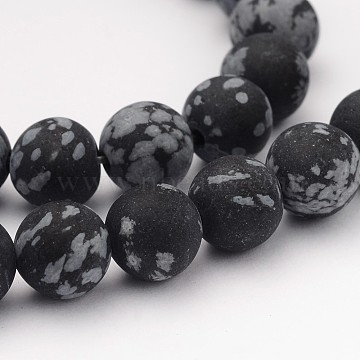 Natural Snowflake Obsidian Gemstone Beads, Frosted, Round, 8mm, Hole: 1mm, about 45pcs/strand, 14.5 inches(X-G-J338-03-8mm)