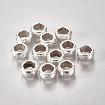Large Hole Beads, Tibetan Style European Beads, Cadmium Free & Lead Free , Rondelle, Antique Silver, about 6mm long, 12mm wide, Hole: 8mm(X-AB5411Y)