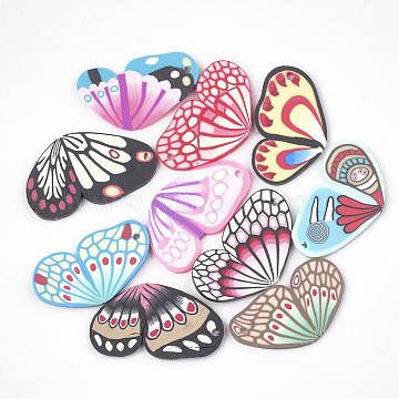 Handmade Polymer Clay Pendants, Wing, Mixed Color, 26~29x15~17x1~2mm, Hole: 1mm(X-CLAY-T013-02)