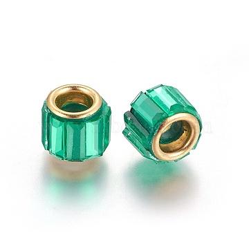 Brass Cubic Zirconia European Beads, Large Hole Beads, Column, Golden, Teal, 10x8mm, Hole: 5mm(KK-E772-01A)
