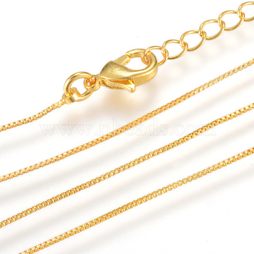 Real 18K Gold Plated Brass Box Chains Necklace Making, with Lobster Clasps, 15.7 inches(40cm)x0.6mm(X-MAK-R014-G)