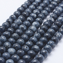 Nature Labradorite Beads Strands, Dyed, Round, PrussianBlue, 8~8.5mm, Hole: 1mm; about 47~49pcs/strand, 14.5inches~14.9inches(37~38cm)(X-G-E443-A24)