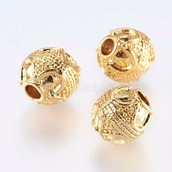 Alloy Beads, Real 18K Gold Plated, Round, Golden, 10mm, Hole: 3mm(X-PALLOY-F204-01G)