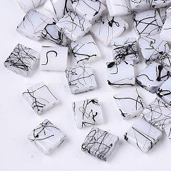 2-Hole Drawbench Glass Seed Beads, Opaque Spray Painted, Rectangle, WhiteSmoke, 5x4.5~5x2~2.5mm, Hole: 0.5~0.8mm(X-SEED-S023-43C-01)