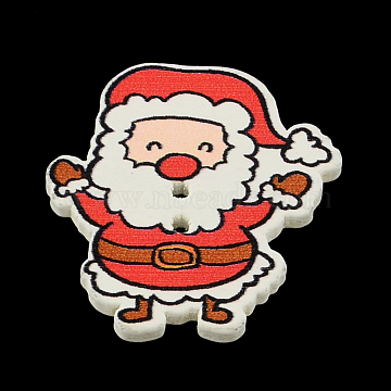 Holiday Buttons, Two Hole Printed Wooden Buttons, Christmas Santa Claus, Red, 33x29x2mm, Hole: 2mm(X-BUTT-R038-06)