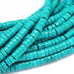 """Sinkiang naturelle turquoise plats ronds brins heishi de perles, teints et chauffée, 6x3mm, trou: 1mm; environ 129 pcs/chapelet, 15.55""""(X-TURQ-E022-26B-6mm)"""