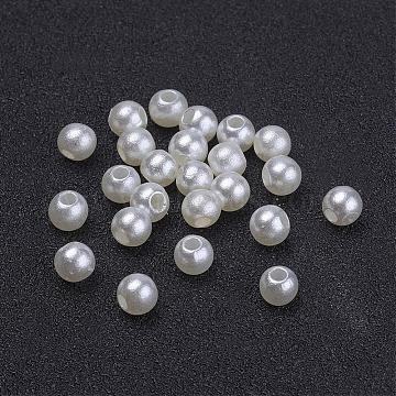 кремовый белый коренастый имитация свободные акриловые круглые проставки жемчужные бусы для детей ювелирные изделия, 4 mm, отверстия: 1 mm(X-PACR-4D-12)