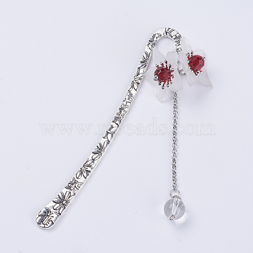 Tibetan Style Alloy Pendants Bookmarks, with Translucent  Frosted Acrylic Beads, and Imitation Austrian Crystal Beads, Flower, Antique Silver, Red, 122.5x10mm(AJEW-JK00135-01)