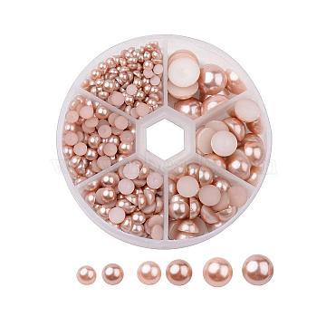 1Box ABS Plastic Imitation Pearl Dome Cabochons, Half Round, Tan, 4~12x2~6mm, about 690pcs/box(SACR-X0002-49-B)