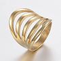 304 нержавеющей стали кольца перста широкополосного, полый, золотой, Размер 6, 16 mm