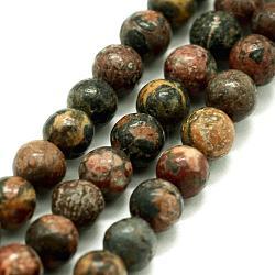 """Chapelets de perles de jaspe en peau de léopard naturel, rond, 6mm, trou: 0.8mm; environ 63 pcs/chapelet, 14.76"""" (37.5 cm)(G-I199-23-6mm)"""