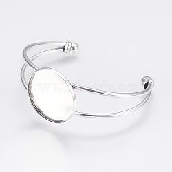 латунь манжеты браслет решений, пустое основание браслета, с плоской круглой лоток, Старинное серебро, 60 mm, лоток: 25 mm(KK-J184-49AS)