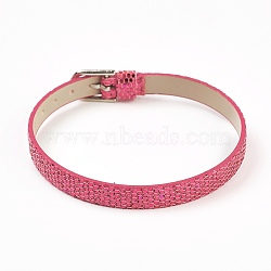 PU Leather Watch Band Strap, Watch Belt, Fit Slide Charms, with Iron Clasps, Platinum, Camellia, 8-5/8inches(22cm); 7.5x1.5mm(BJEW-E350-10A)