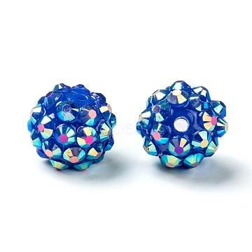 Chunky Resin Rhinestone Beads, Resin Round Beads, RoyalBlue, 12mm, Hole: 3mm(X-RESI-M019-22)