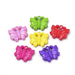 paramètres strass pendentif en acrylique opaque, papillon, couleur mélangée, s'adapter pour 1.5 mm strass; 25x28x6 mm, trou: 3 mm(X-SACR-Q190-59)