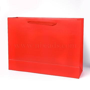 Sacs en papier kraft, avec poignées, sacs-cadeaux, sacs à provisions, rectangle, rouge, 35x48x14.2 cm(AJEW-F005-04-E)