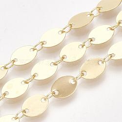 chaînes à maillons ovales en laiton faites main, réel 18 k plaqué or, soudé, avec bobine, 8x5.5x0.3 mm; sur 10 m / rouleau(CHC-S002-18)