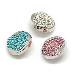 Boutons en alliage avec strass, plat rond avec boutons pression de bijoux de coeur, sans plomb & sans nickel & sans cadmium , platine, couleur mixte, 19x9.5 mm; bouton: 5~6 mm(SNAP-A018-P-NR)