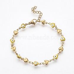 """Bracelets avec chaîne de lien en 304 acier inoxydable, avec l'émail et le homard fermoirs pince, coeur avec le mauvais œil, jaune, 7-1/4"""" (18.5 cm)(BJEW-P236-30G-02)"""