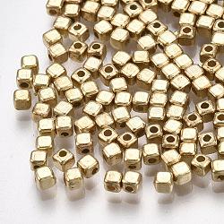 Séparateur perles en plastique CCB, cube, or clair, 2x2x2mm, trou: 0.8 mm; environ 1000 pcs / 10 g(X-CCB-T006-093KC)