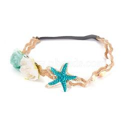 Обруч для волос ручной работы из искусственных цветов с кружевом, с конопляным шпагатом и природной оболочкой, красочный, 530x16 мм(OHAR-WH0006-02)