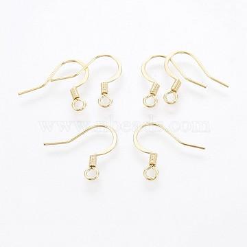 316 Surgical Stainless Steel French Earring Hooks, Flat Earring Hooks, Golden, 15x16mm, Hole: 2mm(X-STAS-P221-02G)