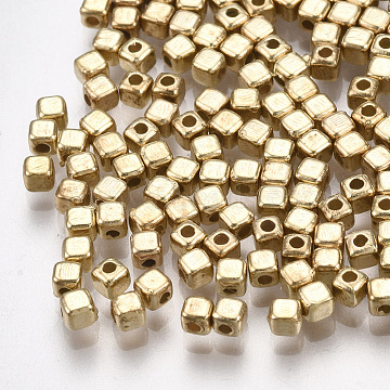 CCB Plastic Spacer Beads, Cube, Light Gold, 2x2x2mm, Hole: 0.8mm, about 1000pcs/10g(X-CCB-T006-093KC)