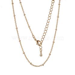 colliers de chaîne à câble en laiton plaqué longue durée, avec fermoir, sans nickel, réel 18 k plaqué or, 18.1 (46 cm), 0.9~2 mm(X-NJEW-K112-09G-NF)