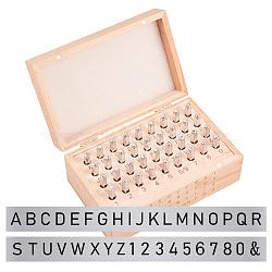 timbres de sceau de fer, y compris la lettre a ~ z, numéro 0~8 et esperluette, platine, 60x6x6 mm; 36 PCs / ensemble(AJEW-BC0005-26P)