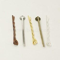 Accessoires bobby épingle à cheveux en fer, couleur mixte, environ 2 mm de large, Longueur 52mm, épaisseur de 2mm, Plateau: 8 mm(PHAR-Q017-M)