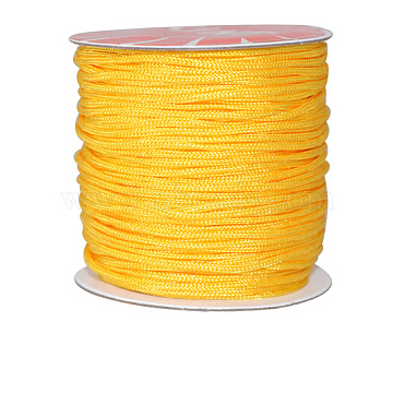 Nylon Thread Cord, For Jewelry Making, Yellow, 0.8mm, about 109.36 yards(100m)/roll(NWIR-E029-0.8mm-15)