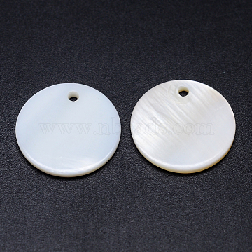 Natural White Shell Mother of Pearl Shell Pendants, Flat Round, White, 20x2mm, Hole: 2mm(X-SSHEL-D080)