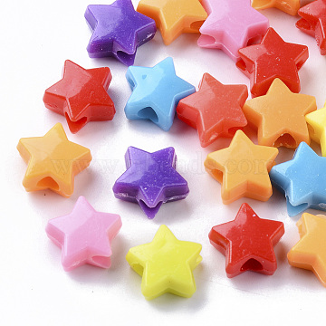 Opaque Polystyrene Plastic European Beads, Large Hole Beads, Star, Mixed Color, 12x13x6.5mm, Hole: 4mm; about 100pcs/50g(X-KY-I004-18)