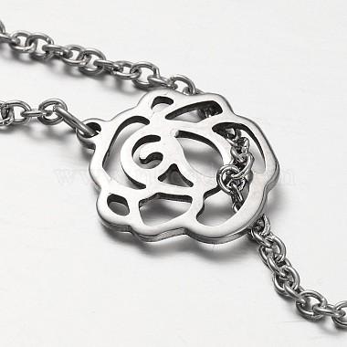 Flower Stainless Steel Lariat Necklaces(NJEW-JN01280-02)-3