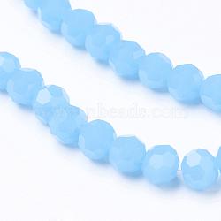 """Facettes imitation perles rondes en verre de jade brins, Bleu ciel, 4mm, trou: 1mm; environ 100 pcs/chapelet, 13.7""""(X-EGLA-J042-4mm-27)"""