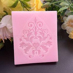 Moules en silicone de qualité alimentaire, moules fondants, pour la décoration de gâteau de bricolage, chocolat, candy, savon, fabrication de bijoux en résine uv & résine époxy, fleur, rose, 60x52x6mm(DIY-E011-32)