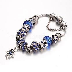 Alliage perles de verre bracelets européens, avec strass et chaîne en laiton, bleu, 190mm(BJEW-L602-20A)