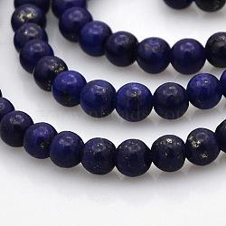 """Lapis lazuli naturelles perles rondes brins, 4mm, trou: 1mm; environ 101 pcs/chapelet, 15.7""""(G-N0120-01-4mm)"""