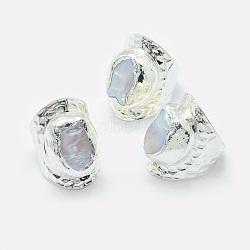 bagues perle, anneaux de large bande, avec les résultats en laiton, platine, taille 8, 18.5 mm(RJEW-P068-03P)