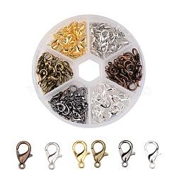 1 boîte 120 pcs 6 couleurs fermoir mousqueton en alliage de zinc, sans nickel, couleur mixte, 12x7mm, trou: 1.2 mm; environ 20 pcs / compartiment(PALLOY-X0007-NF-B)