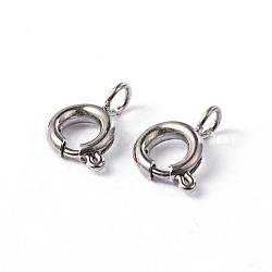304 пружинные кольца из нержавеющей стали с гладкой поверхностью, нержавеющая сталь цвет, 9x6x1.8 mm, отверстия: 2 mm(STAS-D149-02)