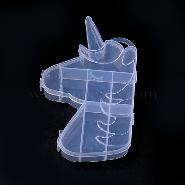 Plastic Bead Storage Containers, 8 Compartments, Unicorn, Clear, 16.2x9.7x2.5cm, Hole: 1.9x1cm(X-CON-S042-06)