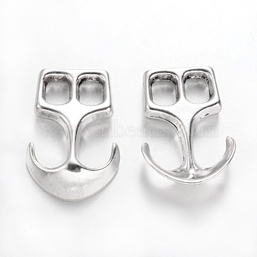 Tibetan Style Alloy Hook Clasps, For Leather Cord Bracelets Making, Anchor, Cadmium Free & Nickel Free & Lead Free, Antique Silver, 23x16x4mm, Hole: 5x4mm(X-TIBEP-35682-AS-NR)