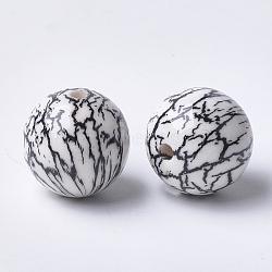 Perles acryliques imprimées, rond, noir, 14x13.5mm, Trou: 2.5mm(X-MACR-T024-49B)