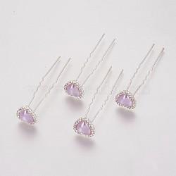(vente de clôture défectueuse), fourches de cheveux de dame, avec des résultats de fer de couleur argent, strass et acrylique, cœur, cristal, lilas, 71 mm(PHAR-XCP0001-L01)