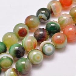 Natural Striped Agate/Banded Agate Bead Strands, Dyed & Heated, Round, Grade A, Colorful, 10mm, Hole: 1mm; about 39pcs/strand, 15.2inches(387mm)