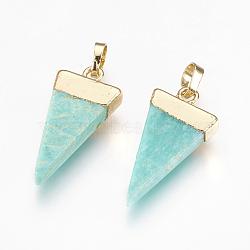 Pendentifs en amazonite naturelle, avec les accessoires en laiton, triangle, or, 27x13x4~5mm, Trou: 4x6mm(G-E493-O02-G)