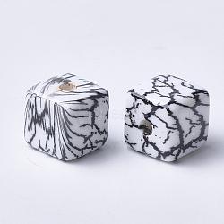 Perles acryliques imprimées, cube, noir, 15x15x15mm, Trou: 3.5mm(MACR-T024-58A)
