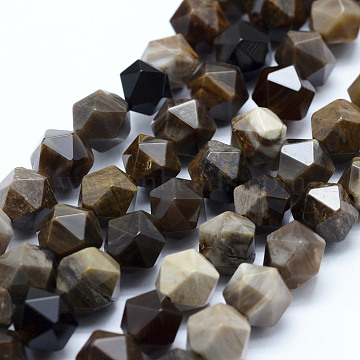 Natural Petrified Wood Beads Strands, Star Cut Round Beads, Faceted, 8~8.5mm, Hole: 1mm; about 48~50pcs/strand, 14.9~15.1 inches(38~38.5cm)(G-F523-14-8mm)