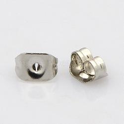 304 écrous en acier inoxydable, boucles d'oreille, couleur inox, 6x4.5x3.5 mm, trou: 1 mm(STAS-N019-12)